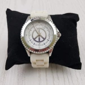 Lucky Brand Womens White Silicone Peace Sign Watch